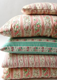 Vintage flowered bed pillows