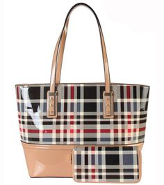 """DESIGNER CLASSICAL PLAID SHOULDER BAG WITH WALLET GZ-3705 - 4 different colors: Black, Beige, Taupe and Red. - Material: PU Faux Leather. Top Zipper Closure. - Classical Plaid Small Top Handle Handbag with Removable Strap  - 1 Main Compartment with 1 Zippered Pocket and 2 Open Pockets Inside. - Length 12.2"""" x Width 5.3"""" x Height 11"""""""