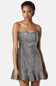 Topshop Frill Hem Bandeau Dress available at #Nordstrom