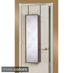 Over The Door Mirror Makeup Vanity Armoire (White), Size Large