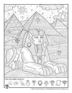 Egypt Pyramids Sphinx Hidden Activity Page Games To Play With Kids, Activities For Kids, Find The Hidden Objects, Hidden Picture Puzzles, French Language Learning, German Language, Japanese Language, Teaching Spanish, Spanish Language