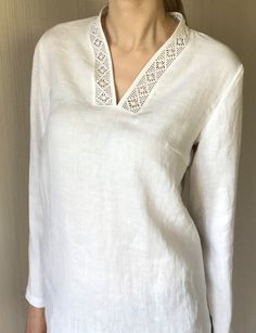 White Simple Linen Tunic Women / Oversized Summer Top / Loose Fit Tunic / Plus S., - - White Simple Linen Tunic Women / Oversized Summer Top / Loose Fit Tunic / Plus S. Salwar Designs, Silk Kurti Designs, Kurta Designs Women, Neck Designs For Suits, Neckline Designs, Dress Neck Designs, Blouse Designs, Kurta Patterns, Dress Patterns