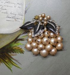 Miriam Haskell Faux Pearl & Black Enamel Leaf by CornermouseHouse