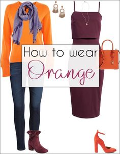 I thought orange was a challenging color to match. But I actually came up plenty of interesting how to wear orange combinations! Orange Color Combinations, Orange Color Schemes, Orange Color Palettes, Color Combinations For Clothes, Color Matching Clothes, Matching Outfits, Classic Outfits, Stylish Outfits, Classic Clothes