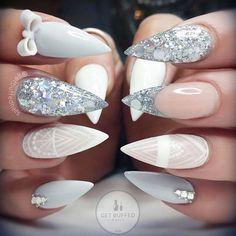 Stiletto + Pastel Blue & White + Rhinestone + Silver Glitter + Lace