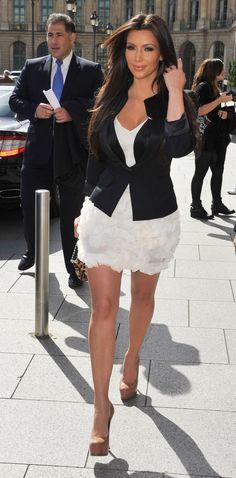 White dress, black blazer and nude pumps.