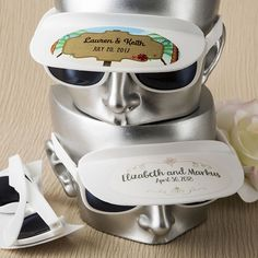White Personalized Sunglasses with Visor - Beach Favors   Destination Wedding Favors   Pool Party Favors