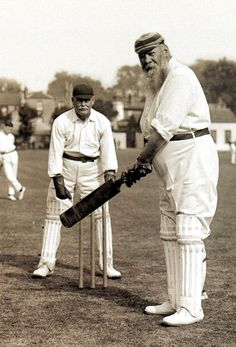 The cricketer W G Grace. He played in the first Test match in England - against Australia in 1880 at the Oval - and scored the first Test century by an English batsman, He died in 1915 - Britain - 1905