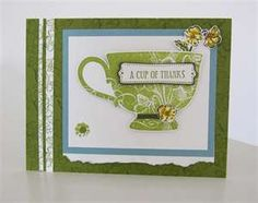 card features the Stampin Up Tea Shoppe Stamp Set. This stamp set ...