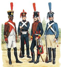 """""""• NCO, Pionniers Noirs, 1806 • Gunner, Foot Artillery, campaign dress, 1807 • Brigadier, 3rd Horse Artillery, c. 1805 • Driver, Artillery Train, 1807"""", Bryan Fosten"""