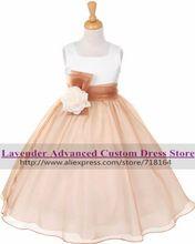 Romantic largo rústico niña de las flores del vestido formal elegante vestidos para las niñas del desfile de vestidos de los niños vestidos de comunion(China (Mainland))