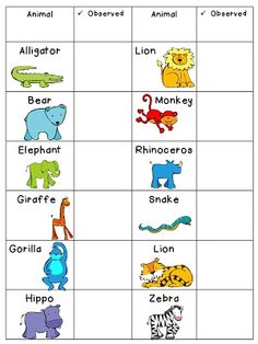 Free Zoo Animal Checklist from Educating to the Core