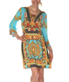 Take a look at this Gold & Turquoise Square Neck Dress by White Mark on #zulily today!