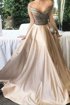 Make it white and its a perfect wedding dress! Off shoulder prom dress, ball gown, elegant ivory satin long dress for prom 2017 Robes Glamour, Elegant Dresses, Formal Dresses, Long Dresses, Dresses Dresses, Ivory Dresses, Bride Dresses, Wedding Dresses, Prom Dresses 2018