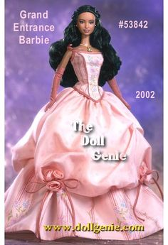 The second doll in the Grand Entrance Collection, Grand Entrance Barbie doll looks positively enchanting in her lovely pink gown. With a fitted bodice top and full skirt accented with pink flowers, Barbie personifies grace. Her long flowing hair, and dangling necklace and earrings complete this marvelous ensemble. A Guide to Collecting accompanies the doll with trivia, tips, and tidbits about collecting Barbie.
