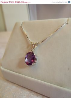 ON SALE Sterling Silver and Amethyst Oval and Diamond by RLGems