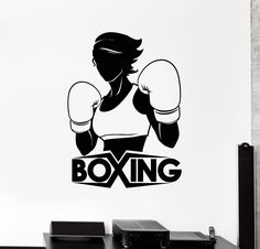 Vinyl Wall Decal Boxing Girl Boxer Sports Woman Stickers Mural (ig4546) Wall Stickers Sports, Vinyl Wall Decals, Creative Poster Design, Creative Posters, Boxing Gym Design, Taekwondo, Kung Fu, Boxing Images, Karate
