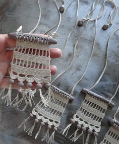 Bohemian Necklace Crocheted Handmade Original Lace Hand