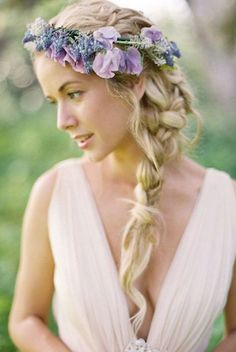 Boho chic braided wedding hairstyle with purple flower crown; Featured Photographer: Jose Villa