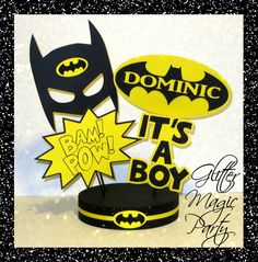 The product Batman Centerpiece Personalized with Name - Batman Baby Shower - Batman Party - Batman Party Decoration, Batman Inspired Party - It's a Boy is sold   Tictail lets you create a beautiful online store for free - tictail.com
