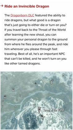 Skyrim secrets: riding an invincible friendly dragon