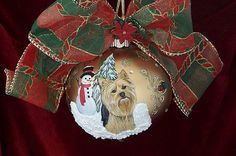 Gold Yorkie mini scene Christmas Ornament