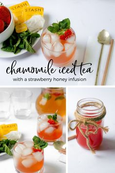 Chamomile Iced Tea with a Strawberry Honey Infusion. The perfect big batch iced tea for spring and summer gatherings. #sponsored #icedtea #chamomiletea #stashtea #stashtearecipechallenge  #stashtearecipes