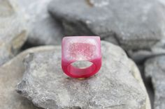Druzy agate ring carved pink gemstone all stone chunky unique hand made us 6    eBay