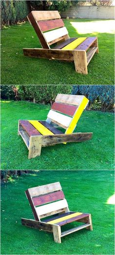 Now enhance the beauty of your garden area by crafting this stylish wood pallets plan for it. This multi-color painted reclaimed wood chair will provide you maximum comfort in your garden. This unique design pallet chair is also best to place in your kid's room.