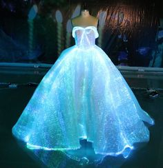 Fiber Optic Wedding Dress RGB LED Light up Wedding Gown Glow in the Dark Dress