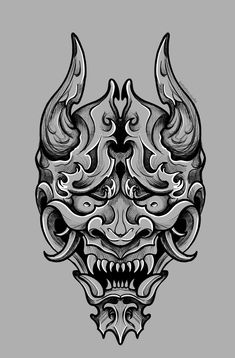 Hanya Mask Tattoo, Samurai Mask Tattoo, Japanese Mask Tattoo, Japanese Tattoo Designs, Demon Drawings, Tattoo Drawings, Oni Maske, Mascara Oni, Japan Tattoo Design