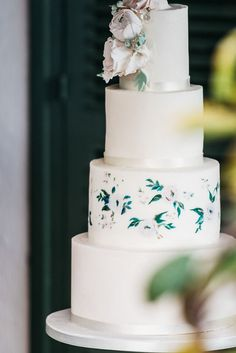 wedding cake with painted flowers