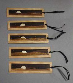 moonrise inlaid koa wood bookmarker by endgrainguy on Etsy, $12.00