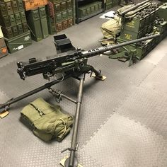 Transferable RAMO sitting in a soft mount round can on side) on a Tripod. Airsoft Guns, Weapons Guns, Guns And Ammo, Big Guns, Cool Guns, Metal Gear, Future Weapons, Tactical Equipment, Hunting Guns