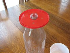 diy hummingbird feeder | We used the hole punch to add four, small feeding holes to the lid.