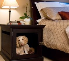 Nightstand | Letting your pet sleep in the same bed as you is not the best idea. It's best to maintain the distance. But if you want your pet to stay close to you at night without giving up the comfort of either of you, you could opt for this interesting piece of furniture. It's a nightstand and it has a space inside where your pet could sleep. Available for 449$.