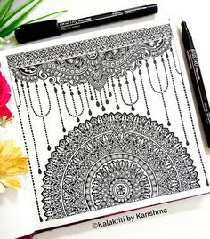 Best Picture For Mandala Painting design For Your Taste You are looking for somethin Doodle Art Drawing, Zentangle Drawings, Cool Art Drawings, Mandala Drawing, Art Drawings Sketches, Zentangle Patterns, Feather Drawing, Art Patterns, Mandala Art Lesson