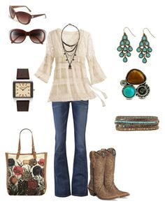 """""""Turquoise"""" by michelled2711 ❤ liked on Polyvore featuring Kasil, AllSaints, Kenneth Cole, Vince Camuto, Dorothy Perkins, Urban Outfitters, Chan Luu, Fantasy Jewelry Box, cowboy boots and bootcut jeans"""