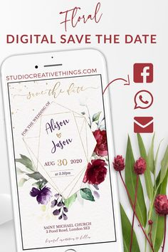 If you are Looking for a burgundy save the date ideas for your fall wedding check out this elegant save the date with blush