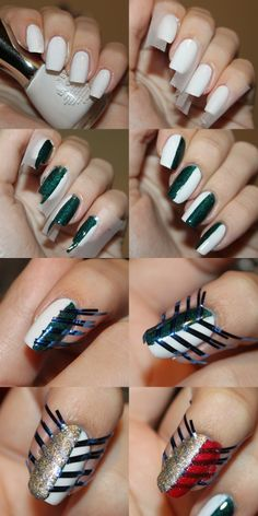 How to - christmas chevrons.  Start with a white base, tape half of your nails and paint a dark green colour (a england st george). Remove the tape (and i used a quick dry tc. With tweezers, I placed to small pieces of striping tape next to each other, creating spaces just as big as the pieces of tape. Then paint a liquid sand polish over it. Over the green I used gold and over the white I used red.