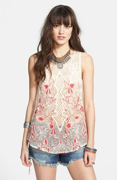 Free People 'Meadow Festival' Embroidered Mesh Tank available at #Nordstrom