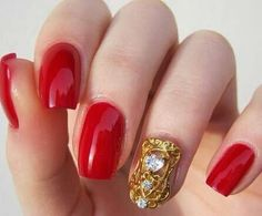 Nail veil as accent finger on classic red manicure - Too gorgeous! Available from www.nailcandi.co.za