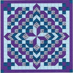 Easy Quilt Kit/Faceted Star/Purples and Aquas/Pre-cut Fabrics Ready To Sew! Big Block Quilts, Strip Quilts, Scrappy Quilts, Quilt Blocks, Star Blocks, Patchwork Quilt Patterns, Quilt Block Patterns, Half Square Triangle Quilts, Square Quilt