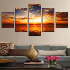 Orange Sunset - 5 Panel Canvas