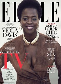 Ample assets: For Viola Davis' cover, the 50-year-old showcased her cleavage in a brown su...