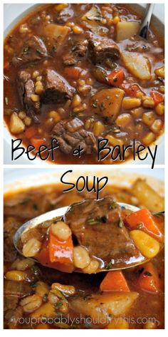 Hypoallergenic Pet Dog Food Items Diet Program Hearty, Satisfying, And Soul Warming. This Soup Will Help You Survive A Seemingly Endless Winter. Healthy Beef and Barley Soup Yield: 8 Servings Prep: 15 Minutes Cook: Hr, Crockp Beef Soup Recipes, Healthy Soup Recipes, Ground Beef Recipes, Cooking Recipes, Recipes Dinner, Easy Recipes, Healthy Food, Delicious Recipes, Healthy Recipes