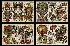 Flash from Spider Murphy's Tattoo in San Rafael Tattoo Flash Sheet, Tattoo Flash Art, Gem Tattoo, Tattoo Art, Celtic Cross Tattoos, Tatto Old, Traditional Tattoo Old School, Sunflower Tattoo Small, Traditional Tattoo Flash