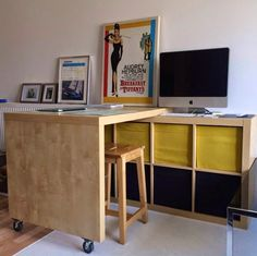 10 Awesome IKEA Hacks to Try: This one is a small space solution using the EXPEDIT and BOSSE pieces.
