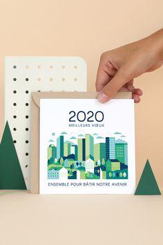 Ensemble pour bâtir notre avenir ! Envoyez une Carte de Voeux pleine d'optimisme avec le modèle Avenir, à personnaliser avec votre logo. Un texte de voeux professionnel vous est déjà suggéré en accord avec votre carte, parfait pour souhaiter la bonne année avec efficacité ! Complétez votre carte de voeux de votre choix de papier et de couleur d'enveloppe, et hop, c'est envoyé ! #voeux #voeux2020 #bonneannée #nouvelan #voeuxprofessionnels Web Design, Graphic Design, Creative Inspiration, Design Inspiration, New Year 2020, Baby Cards, Mood Boards, Invitations, Happy New Year