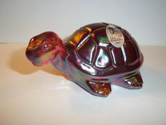 LOVE HIM! Fenton Glass RUBY RED CARNIVAL IRIDIZED TURTLE Figurine